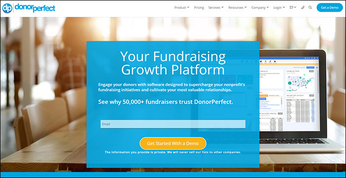 Check out DonorPerfect's website to learn more about their online fundraising software.