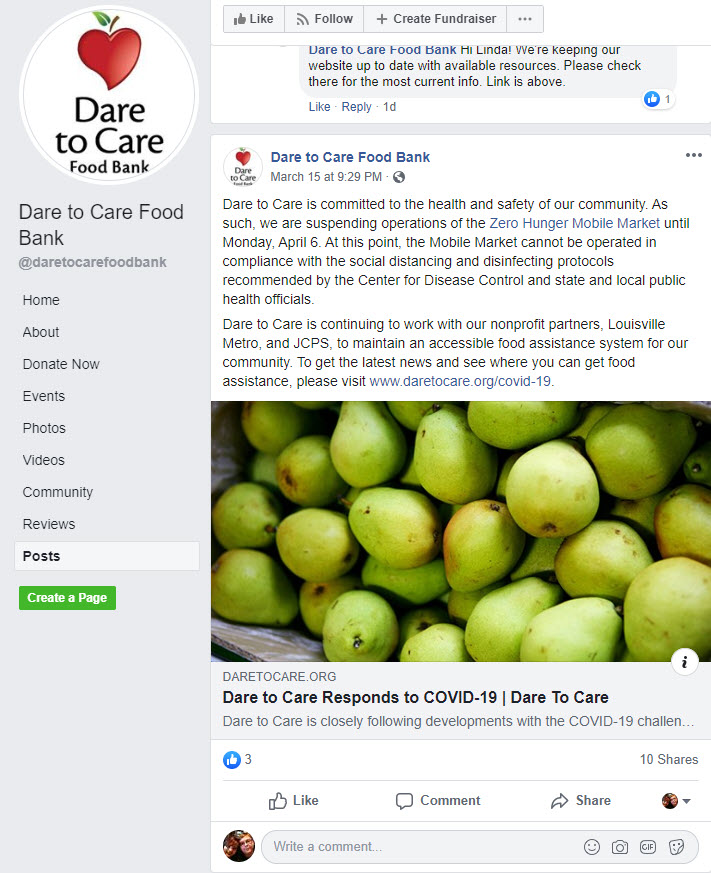 Dare to Care Food Bank shares its Covid-19 response on Facebook. They also created a social donation campaign page to fight food insecurity during the outbreak.