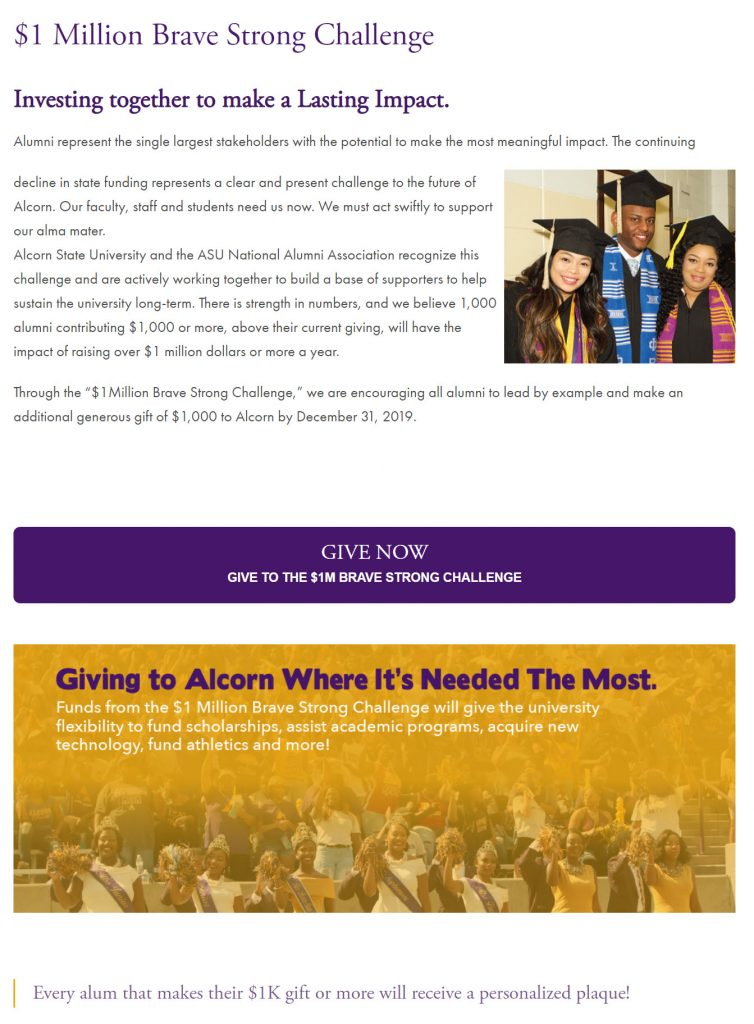 Details of Alcorn State University's $1 Million Brave Strong Challenge.