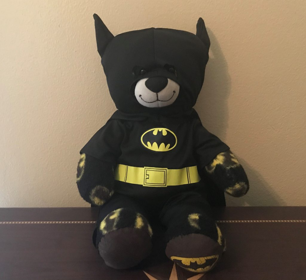 Build-A-Bear's Batman-themed bear wearing a Batman costume to emphasize the value of letting donors direct their own donor experience.