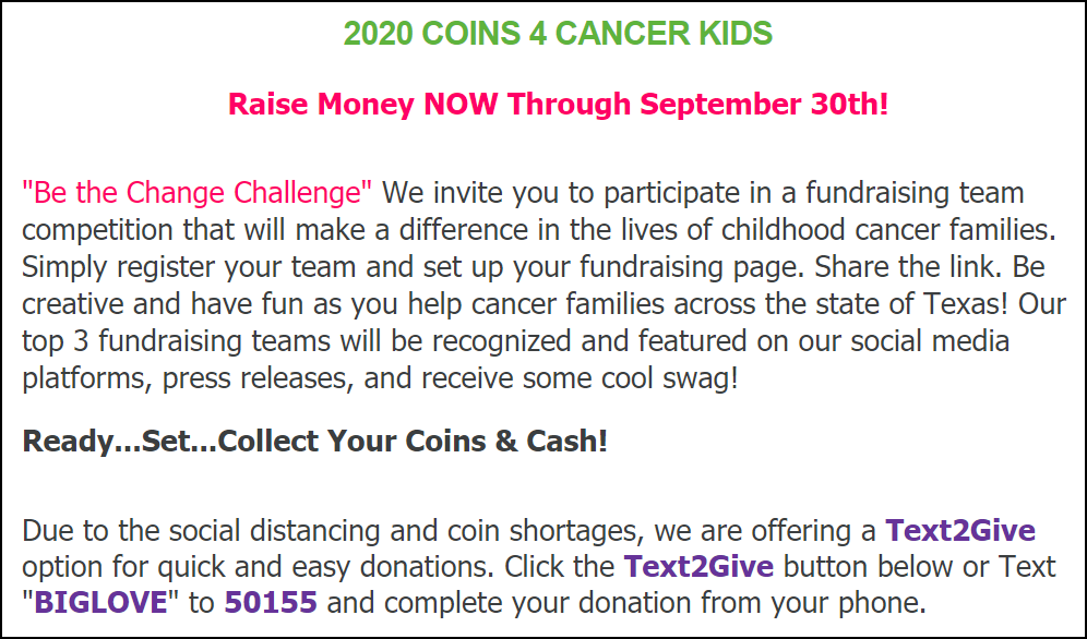 B.I.G. Love Cancer Care turned a national coin shortage problem into an awesome peer-to-peer fundraising event relying on teams of fundraisers.