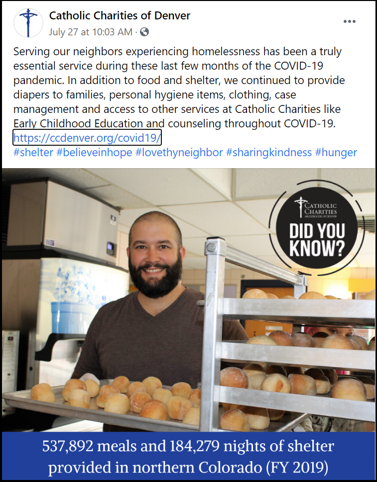 Catholic Charities of Denver Facebook Post showing a man with baked goods to serve to people in need at their shelter during the COVID-19 pandemic.