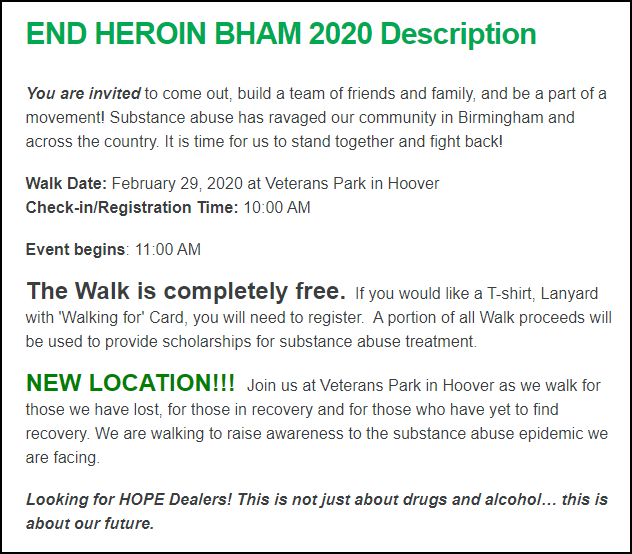 Addiction Prevention Coalition made a great creative fundraising appeal by framing their peer-to-peer event as a movement to prevent addition in Birmingham Alabama.