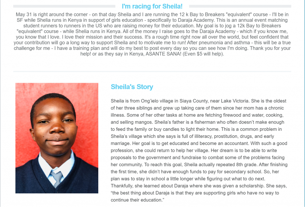 A Daraja Academy fundraising participant's fundraising page story.