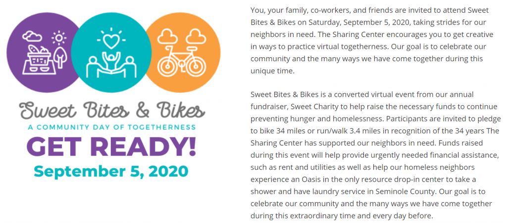 Part of the Sweet Bites and Bikes dedicated event page that describes the event and its transformation from an annual in-person event, Sweet Charity. Their event transitioned to a virtual format because of COVID-19.