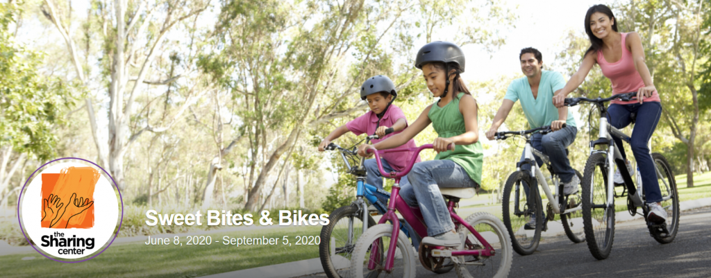 Header image from The Sharing Center's Sweet Bites and Bikes peer-to-peer fundraising page.