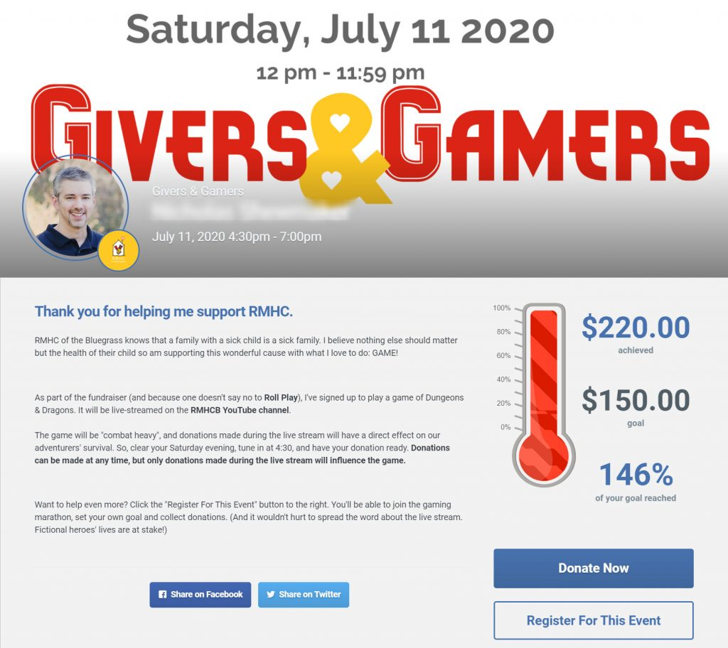 Givers & Gamers participant donation page.