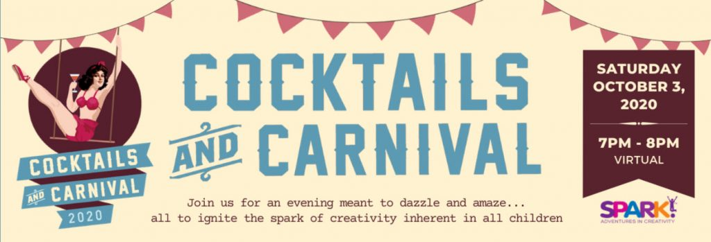 Spark!'s Cocktails and Carnival 2020 Virtual Event Webpage Banner Image.