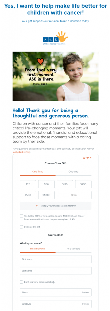 ASK Childhood Cancer Foundation's nonprofit donation form.
