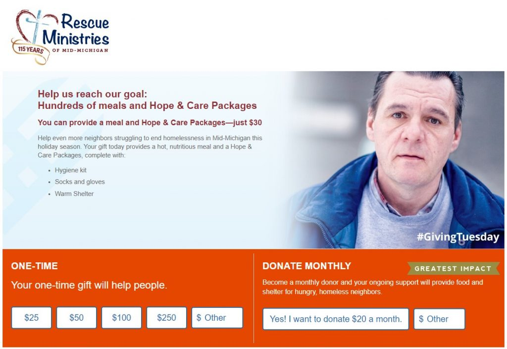 Image of Rescue Ministries of Mid-Michigan's Giving Tuesday giving day donation page featuring a client they serve and donation amount buttons.
