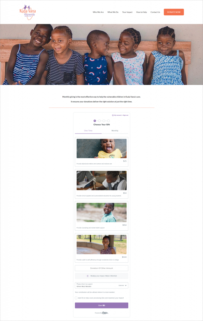 The result of Kuda Vana Partnership's donation form makeover is visually appealing and shows who they serve right on their donation amount buttons.