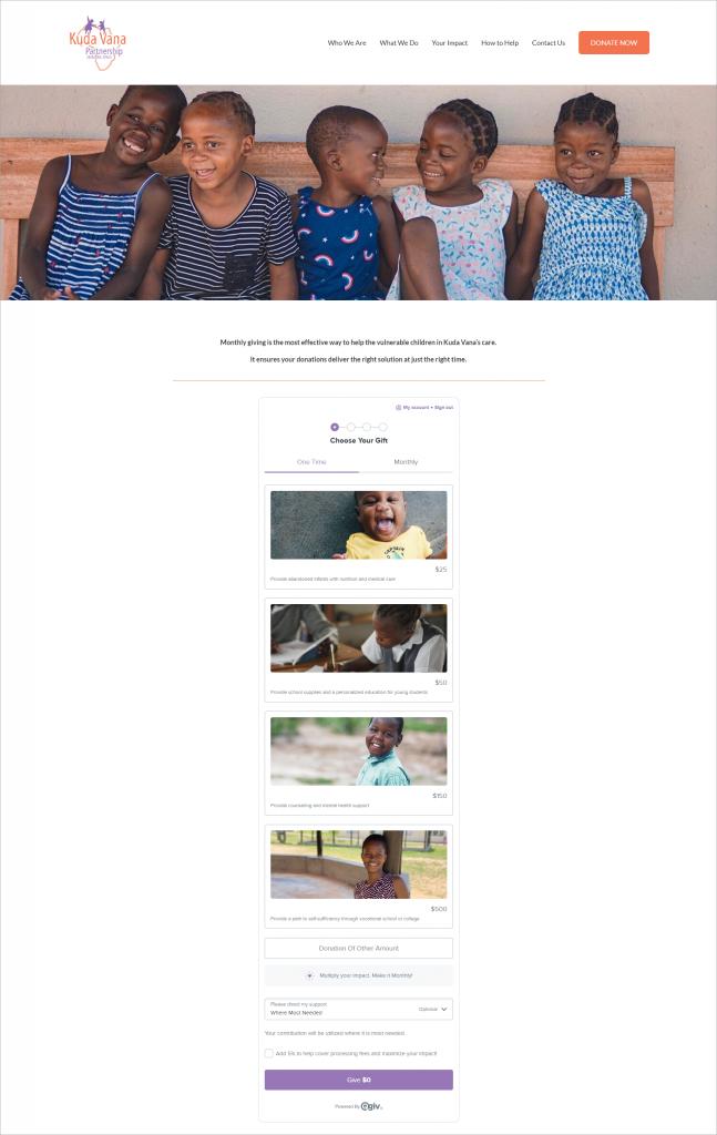 This is Kuda Vana Partnership's nonprofit donation form.