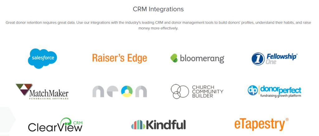 CRM systems are key to data management. Qgiv ensures your fundraising data is portable by offering integrations with these major CRMs.
