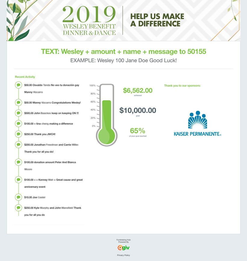John Wesley Community Health Foundation used Qgiv's Mobile Fundraising Platform to create this FundHub Live page that not only shows progress toward their goal, but also includes recent donor activity on the page.