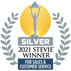 Image of Silver Stevie Award badge for Sales and Customer Service