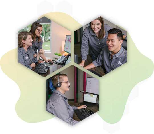 Three hexagon-shaped images of customer support staff working at computers and talking to clients.
