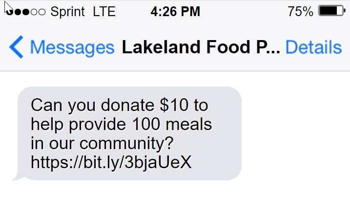 Food bank text fundraising example
