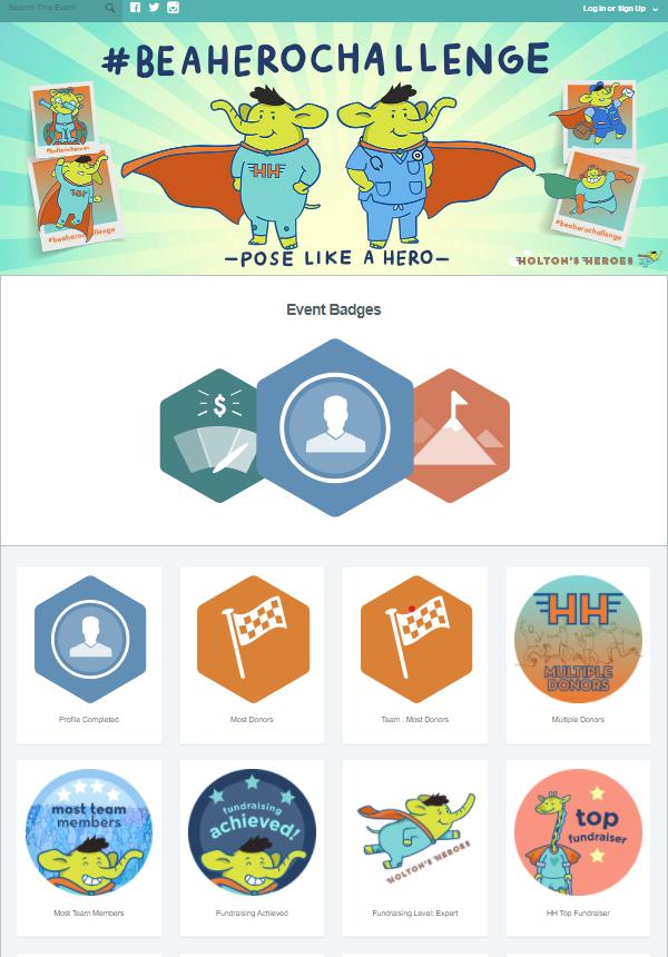 Peer-to-peer fundraising badges examples.
