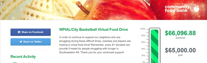 Virtual food drive fundraising thermometer example