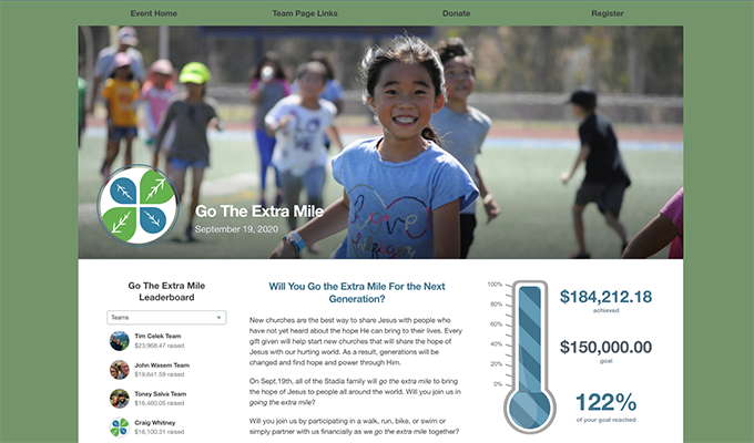 This is a screenshot of Stadia Church Planting's Go the Extra Mile campaign page, an example of a faith-based nonprofit peer-to-peer campaign.
