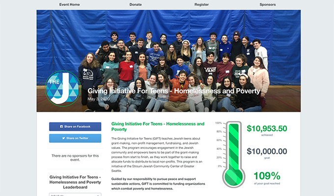 This is a screenshot of the Giving Initiative for Teens' Homelessness and Poverty campaign page, an example of a faith-based nonprofit peer-to-peer event.