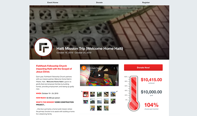 This is a screenshot of FishHawk Fellowship Church's and Welcome Home Haiti's Haiti Mission Trip campaign page, an example of a faith-based nonprofit peer-to-peer campaign.