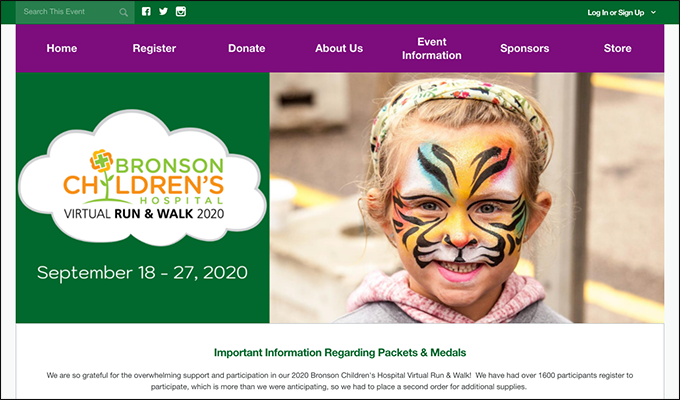This is a screenshot of the Bronson Children's Hospital's Virtual Run & Walk campaign page, an example of a medical nonprofit peer-to-peer event.