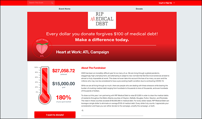 This is a screenshot of the RIP Medical Debt's Heart at Work: ATL Campaign's 2020 Donut Run campaign page, an example of a medical nonprofit peer-to-peer event.