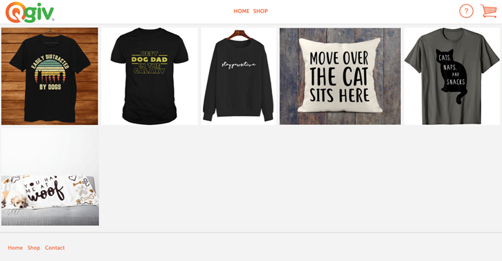 Example of an online store for an animal organization fundraiser