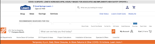 Example of an alert banner from the Lowe's website