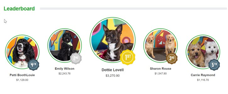 Example of a fundraiser leaderboard for an animal nonprofit that features adorable dog pictures.