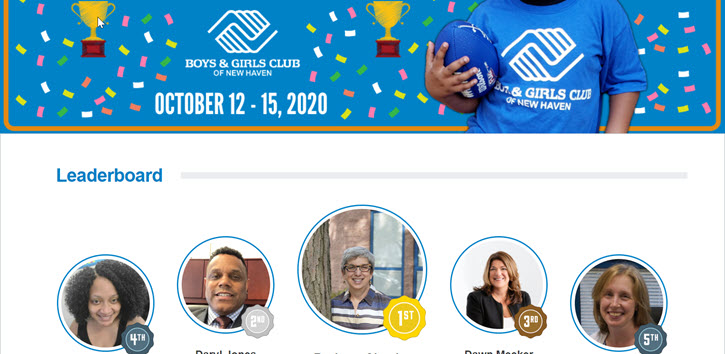Example fundraising leaderboard from Boys & Girls Club of New Haven
