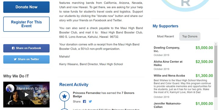 Social sharing icons example from Maui High Band Booster Club's fundraiser