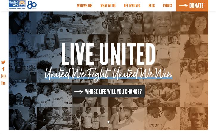 Example of a nonprofit website navigation menu for Live United