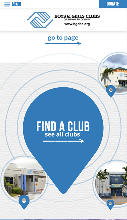 Example of mobile-friendly website design from Boys & Girls Clubs of Broward County