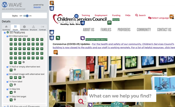 Screen shot of the WAVE (web accessibility evaluation tool) being used on a nonprofit website