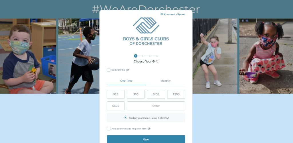 Boys and Girls Club of Dorchester added a banner image with cute pictures of children.