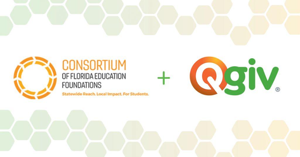Consortium of Florida Education Foundations + Qgiv logo graphic