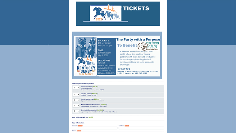 The Kentucky Derby used fundraising event software for their fundraising event.