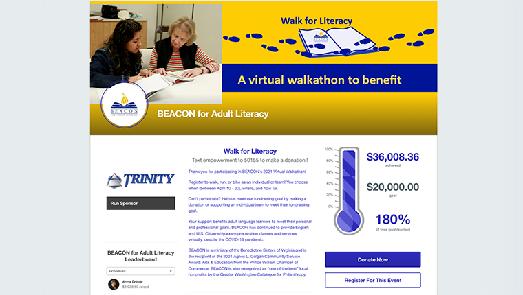 Here is a peer-to-peer event page for Walk for Literacy that uses fundraising event software.