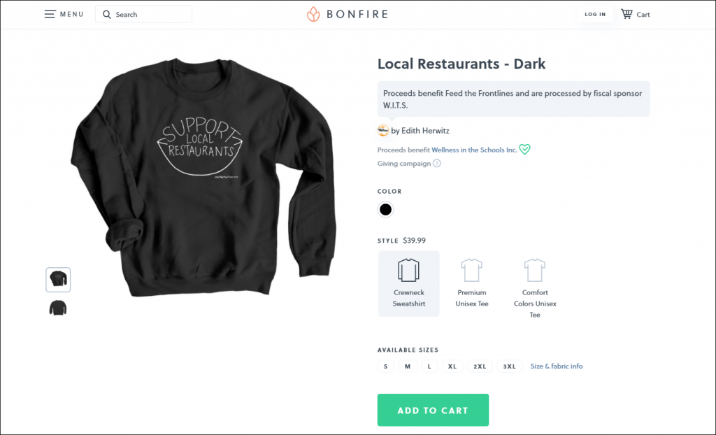 Bonfire, a type of fundraising event software, offers an easy well to sell nonprofit merchandise.