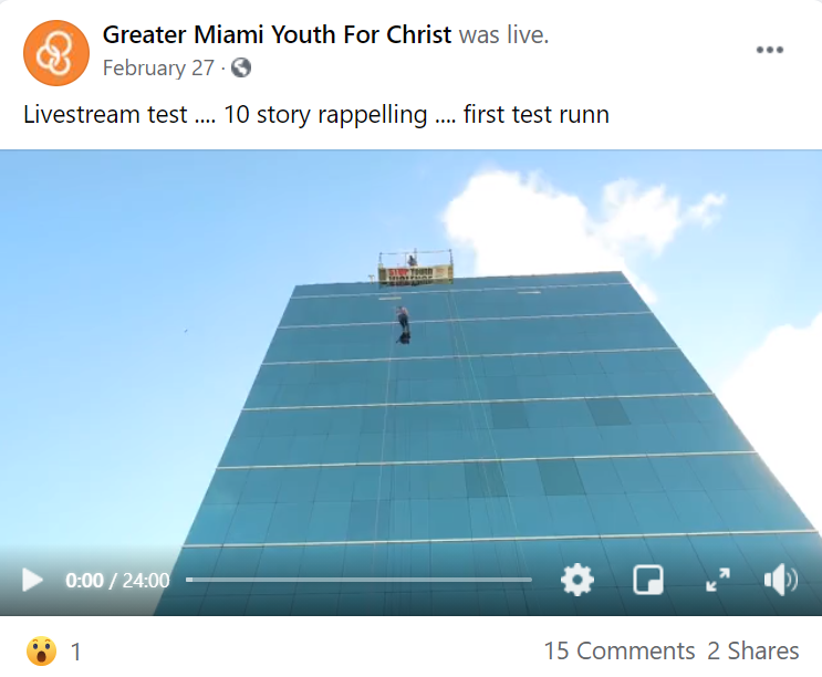 Over the edge events are great publicity and looks good on your social media pages. For example, this video embedded on Greater Miami Youth for Christ's Facebook page.