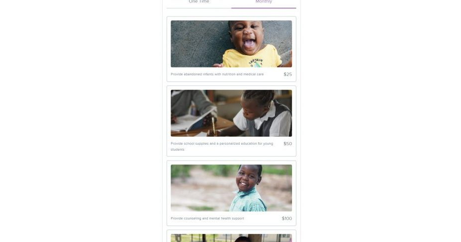 Kuda Vana added images of the kids that each recurring donation will benefit.