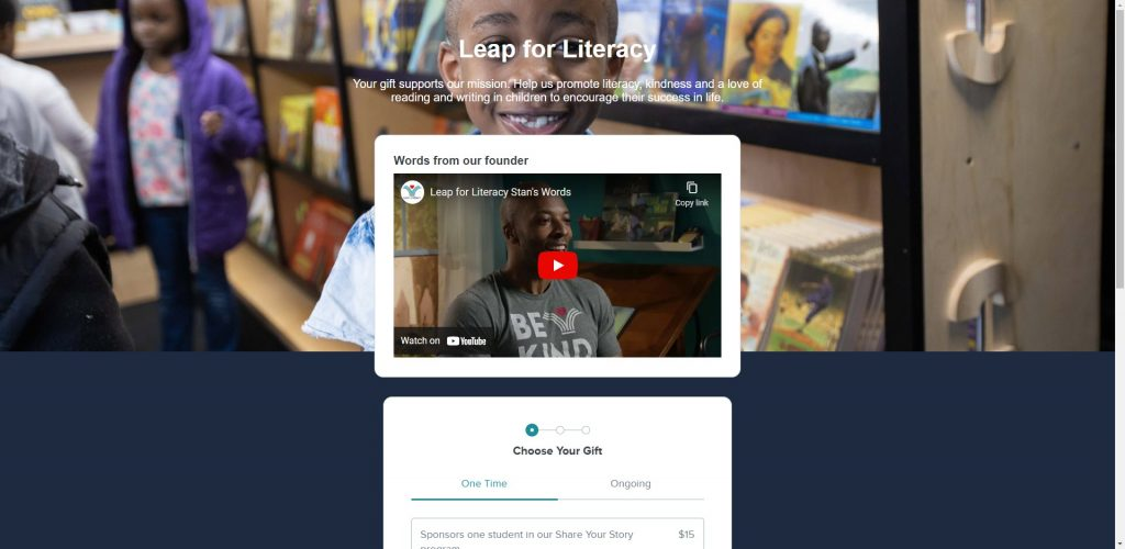 Leap for Literacy added a video about their organization at the top of their landing page.