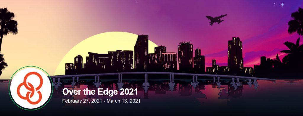 Greater Miami Youth for Christ's event banner for their hybrid event, Over the Edge. The banner depicts the Miami skyline at sunset.