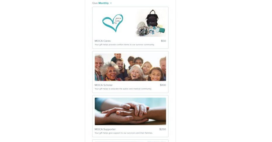Minnesota Ovarian Cancer Alliance added images to their giving plans to show visual impact of a recurring gift.