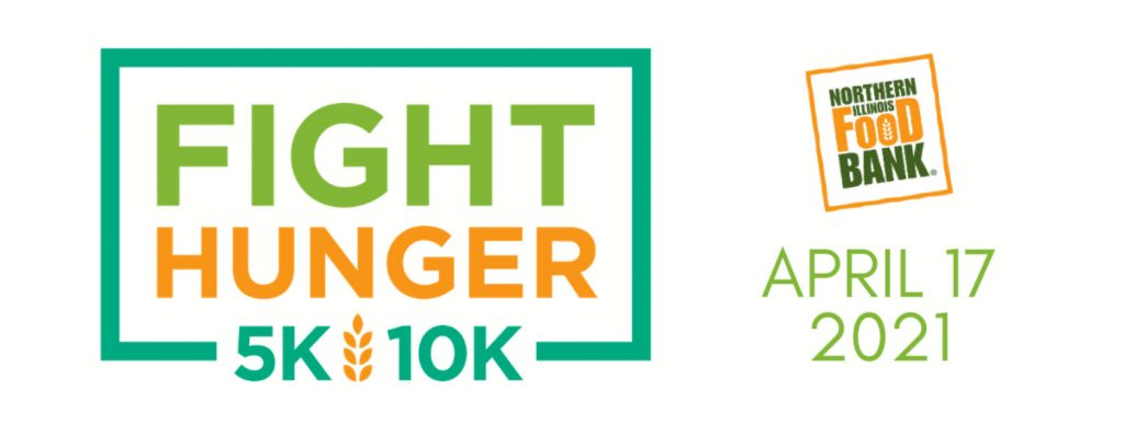 The Fight Hunger 5K/10K event banner is a simple image with the event name next to the organization's logo and the event date.
