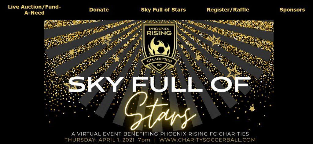 Phoenix Rising Charities' Sky Full of Stars Hybrid gala event banner.