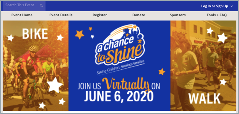 The event banner for the a chance to shine virtual event.