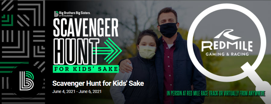 The event banner for Big Brothers Big Sisters of the Bluegrass' Scavenger Hunt for Kids' Sake event depicting masked participants in the background and event details in the foreground.